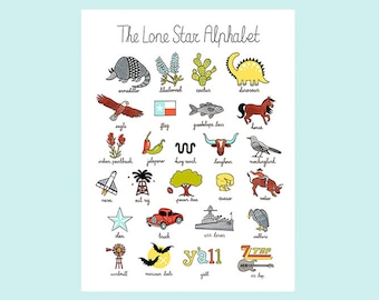 The Lone Star Alphabet Print Art