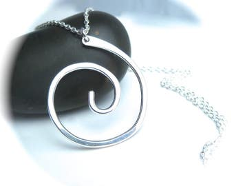 Hammered Silver Spiral Necklace- Handmade Silver Necklace