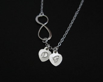 Infinity Necklace. Personalized Sterling Silver Jewelry.1.2.3.4.5.6 Initial Necklace. Bridal. Anniversary Gift. Family. Friendship. Sister.