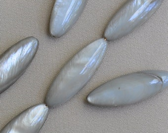 30 x 11 mm Long Marquise Shaped Mother of Pearl Grey Beads 1 Full Strand 12 Pieces