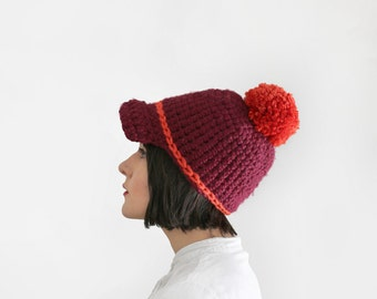 Pom Pom Cap - Chunky Crochet Hat - Baseball Cap - Women's Winter Accessories in Pinot & Orange | The Ceres Cap |