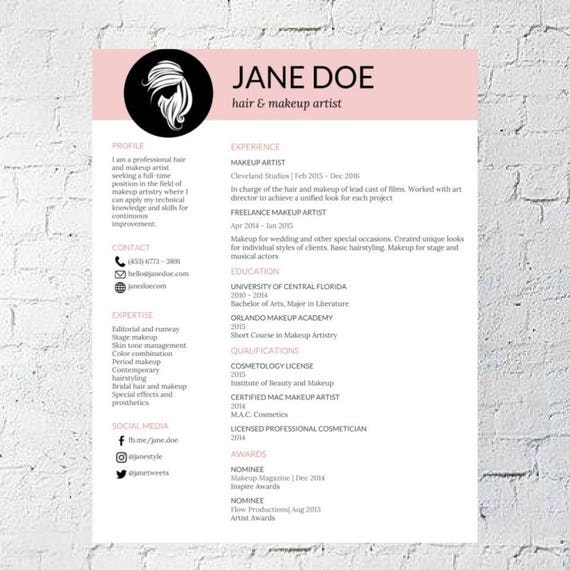 hair stylist makeup artist resume template google document editable printable mac pc digital download - Makeup Artist Resume