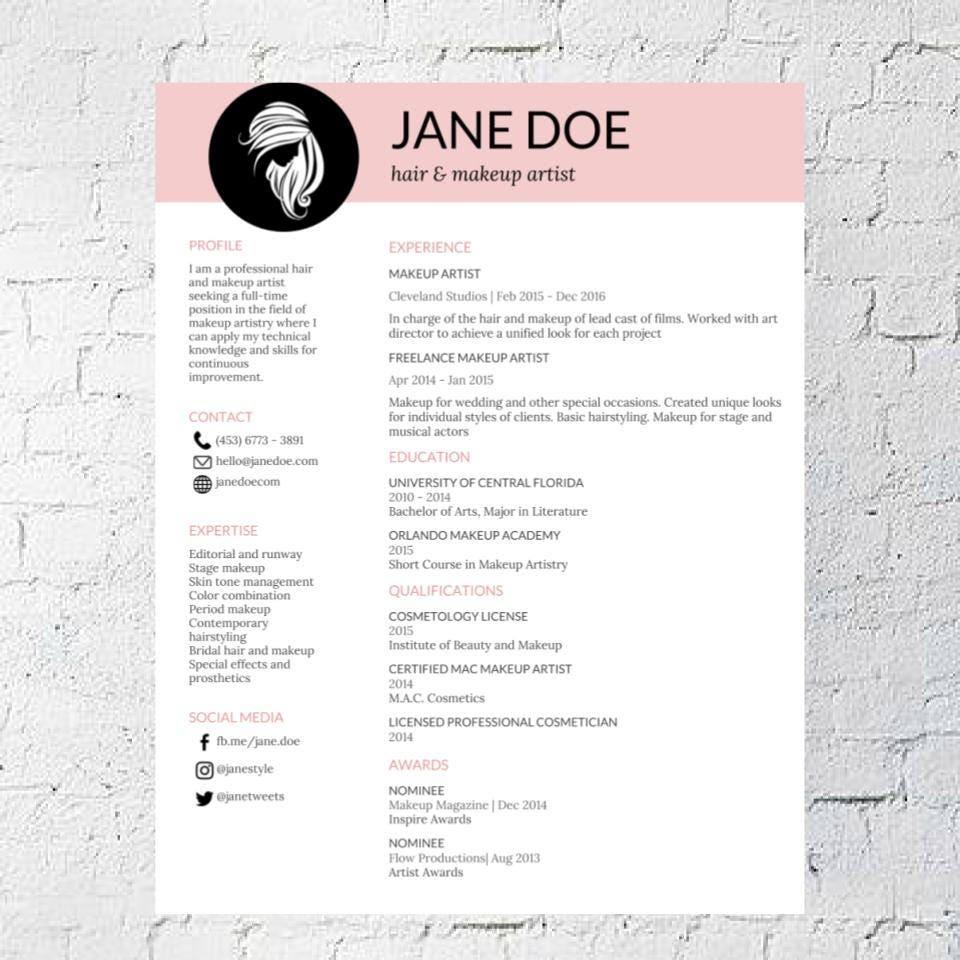 Friseur Make-up Artist Lebenslauf Vorlage Google-Dokument