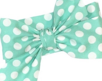 Mint Green Head Wrap, Girls Headwrap, Baby Girls Headwrap, Headwrap, Girls Headband, Big Bow Headwrap, Polka Dots - MINT GREEN DOTS