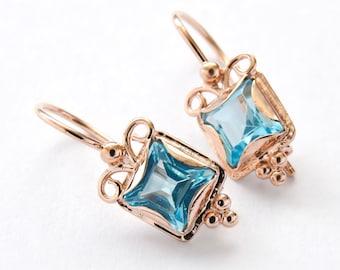 Topaz Square earrings, 14K rose gold earrings, Blue gemstone earrings, gold drop earrings, vintage earrings, small everyday earrings