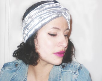 Silver velvet turban headband. Stunning, extra wide hair turban!