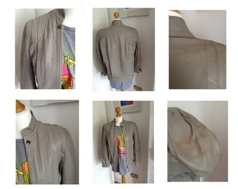 Vintage grey soft leather pleated jacket 1980'S Hipster