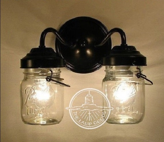 Lighting Canning Jar DOUBLE Sconce Wall Flush Mount Mason