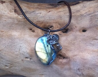 Necklace, octopus, squid, Octopus, mystical, labradorite and polymer clay