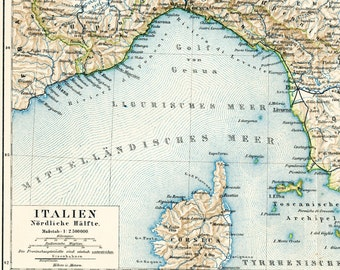 Italy historical map  Northern Italy map Italian islands + railway lines 19th century map : Antique 1890s lithograph original old book plate