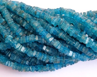 15 Inch Long Strand  Neon Apatite Smooth Flat Squares, Neon Apatite Flat Square Beads (5 mm approx)
