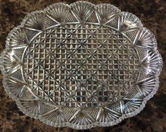 Beautiful Vintage Glass Platter - Shell Design