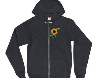 Hoodie Sweater / Sunflower Zip Up Hooded Sweatshirt