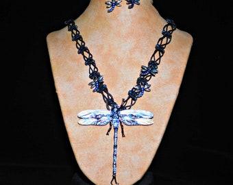 Hemp Necklace Set Black Dragonfly