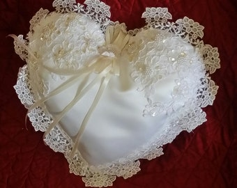 Heart shaped ring bearer pillow