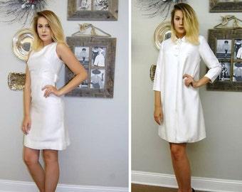 1960s Dress - White Linen Dress Suit - Spring Coat - Original Jr. Theme - New York - High Fashion Suit - Jackie O - 1960s Theme - Wedding