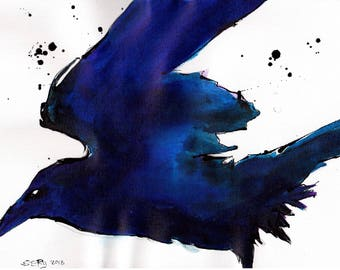 Raven art - Ink on 8x12in canvas, A4, 21x30cm - blue raven silhouette painting