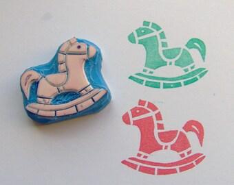 Rocking horse Rubber Stamp, horse stamp, wooden horse stamp, baby shower stamp, baby stamp, toy stamp, children stamp, kids stamp, handmade