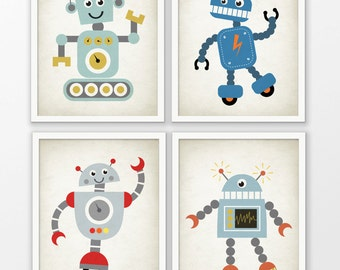 Cute Robot Nursery Prints Set Of 4 - Robot Art - Baby Boy Shower Gift - Kids Playroom Decor - Boys Nursery Pictures - Robot Wall Art #172