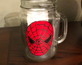 Spider Hand Painted Glass
