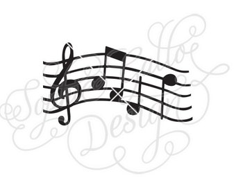 Musical Key Notes Song SVG DXF digital download files for Silhouette Cricut vector Clip Art graphics Vinyl Cutting Machines, Screen Printing