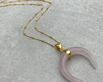 Rose quartz crescent moon necklace, Crystal necklace, Gemstone necklace, Pink necklace, Horn necklace, Gift for her