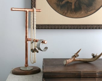 Copper Pipe Jewelry Display Stand Organizer | Industrial Modern Dorm Decor