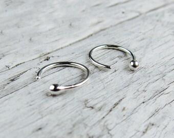 Small silver hoop earrings. Sterling silver hoops, tarnish resistant. Ball hoop studs.