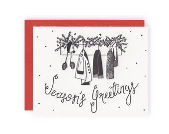 Season's Greetings - Letterpress Holiday Greeting Card