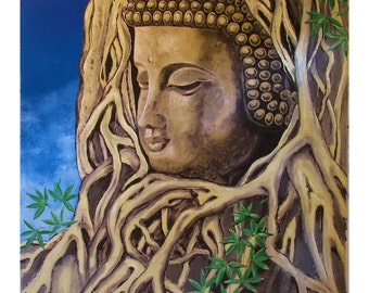 The Roots of Buddha, Statue in Tree Temple Mother Nature, Original illustration artist Print Wall Art, Free Shipping in USA.