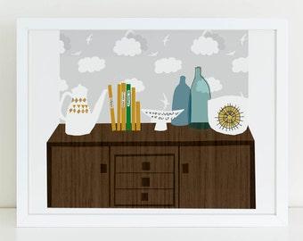 Mid century modern wall art print 'Checkmate'. Mid century sideboard, retro ceramics, modernist art print