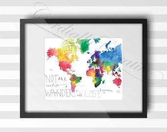 "World Map watercolor illustration ""Not All Who Wander Are Lost"" print 8x10 inches, digitally printed on white linen stock, unique gift art"