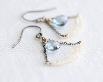 Trapeze earrings - rainbow moonstone & blue quartz swing chandelier style earrings in oxidized silver and gold - mixed metal earrings