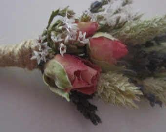 Beautiful Rose Bud Buttonholes. Made from Natural Dried Flowers and Grasses for a rustic, vintage or country feel. Rose, Pink, Lavender