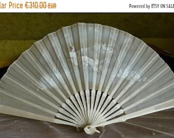 ON SALE 1900 Folding Fan, Flying Putto, antique fan, victorian fan, ca. 1900