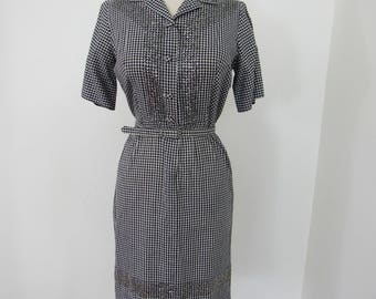 Rockabilly Chic 1950s Black & White Gingham Wiggle Dress with Hand Sequined and Beaded Pattern