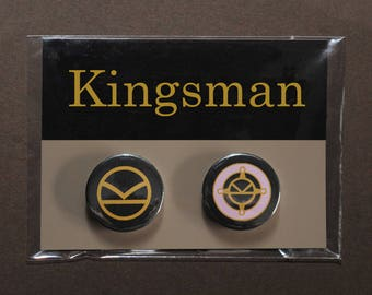 Kingsman button badges – Eggsy medal – K logo pin – Harry Hart – Golden Circle – Manners Maketh Man – cosplay fandom prop replica