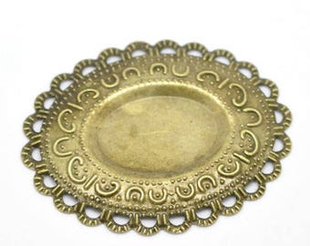 bronze Oval 2 filigree connectors x 4.2 x 3.7 cm