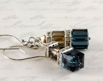 Swarovski Crystal Cube Earrings - Montana Blue - Crystal Bronze - Sterling Silver