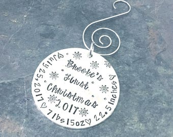 Baby's First Christmas Ornament Hand Stamped, Ornament for New Baby, Christmas Ornament, Hand Stamped, Christmas Ornament