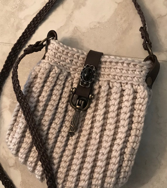 Handmade Cute small cream colored hand crocheted crossbody or over the shoulder bag