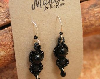 Macramé Beaded Black Obsidian and Lanzarote Lava Stone Earrings - Boho, Gipsy