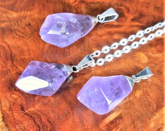 Amethyst Necklace - Tumbled Crystal Point Pendant Natural Stone Jewelry Purple Gemstone Silver Earrings (L5) Healing Crystals And Stones