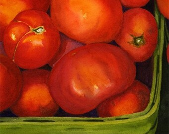 Red Tomatoes Green Basket 8x10 Print  from original watercolor painting