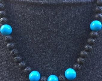 LavaTurquoise Beaded Necklace, Gemstone Necklace, Handmade Lava Necklace, Edinburgh Jewellery Designer, U.K.