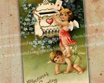 Digital Valentine Cherub Postcard  INSTANT Download - Angels, Mailbox For Mixed Media, ATC, Aceo Scrapbooking Cards Tags Paper Crafts PC12PC
