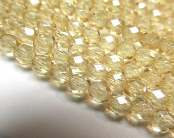 Light Gold Czech Glass 5mm Fire Polished Jewelry Beads (25)