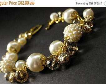 SUMMER SALE Ivory Wedding Bracelet in Cream Pearls and Taupe Crystals. Handmade Bridal Jewelry by Gilliauna