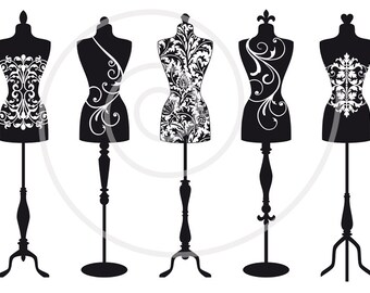 Vintage mannequin digital clip art, tailor's dummy, clipart, dress form, mannequin silhouettes, fashion illustration, EPS, instant download
