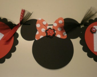 Red Minnie Mouse Happy Birthday Banner